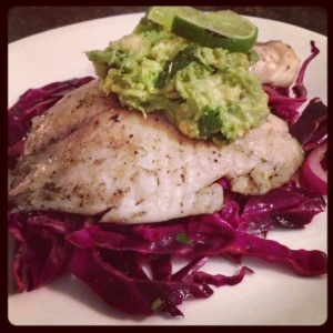 tilapia and red cabbage salad